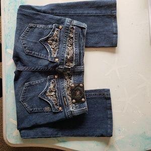 Miss Me Rhinestone Flap Boot Cut Jeans